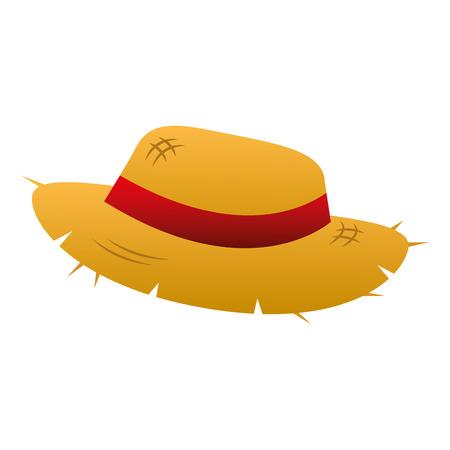 słomkowy kapelusz z ilustracji wektorowych akcesoria wstążka Ilustracje wektorowe