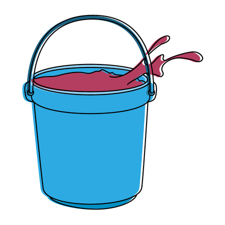 color powder in bucket plastic holy celebration vector illustration design