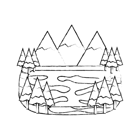 forest mountains lake landscape natural vector illustration sketch Ilustração