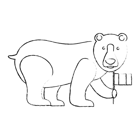 grizzly bear holding canadian flag vector illustration sketch