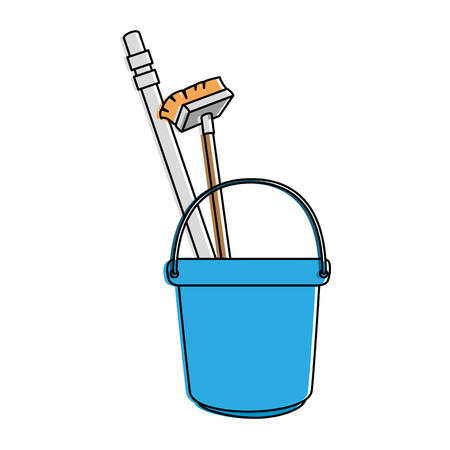 bucket and brush and clean utensil vector illustration design Illustration