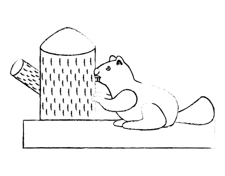 beaver rodent stump mammal wildlife fauna vector illustration sketch  イラスト・ベクター素材