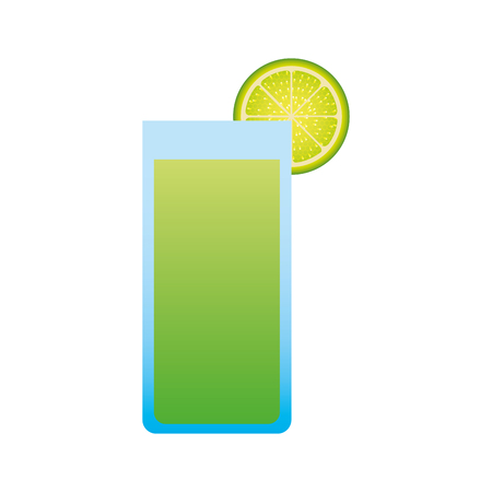 glass of lemonade with slide lemon vector illustration Illusztráció