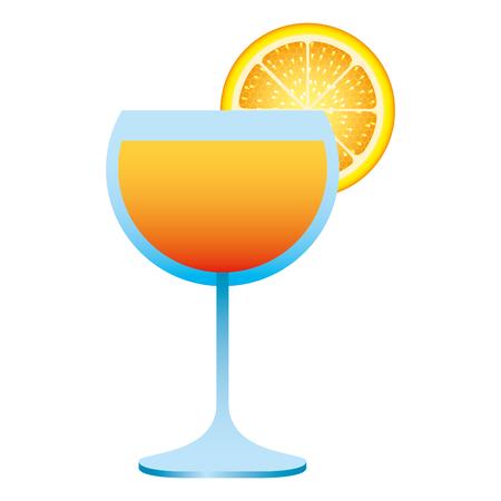 juice orange slice fruit in glass cup Illustration