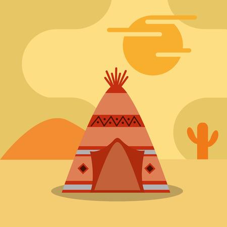 砂漠のサボテンの夕日ベクトルイラストのネイティブアメリカンテント