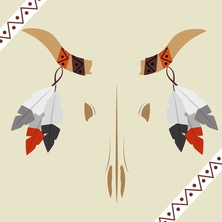 native american skull buffalo horned feathers hanging vector illustration Stock Vector - 98407352
