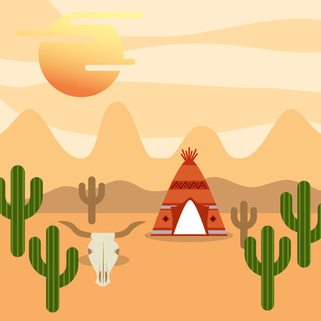 native american tent cactus desert skull mountains vector illustration Ilustrace