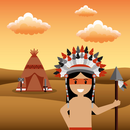 male native american with spear and teepee desert sunset vector illustration