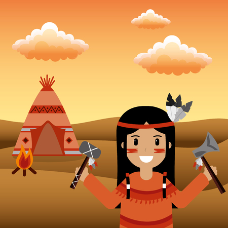 native american holding tomahawk and axe in hands and teeepee bonfire desert vector illustration Illustration