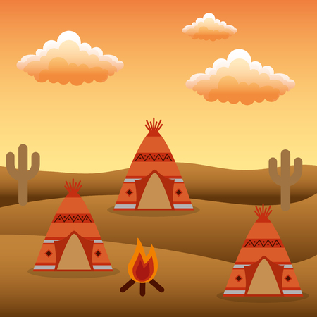 Native American camp teepees bonfire cactus vector illustration