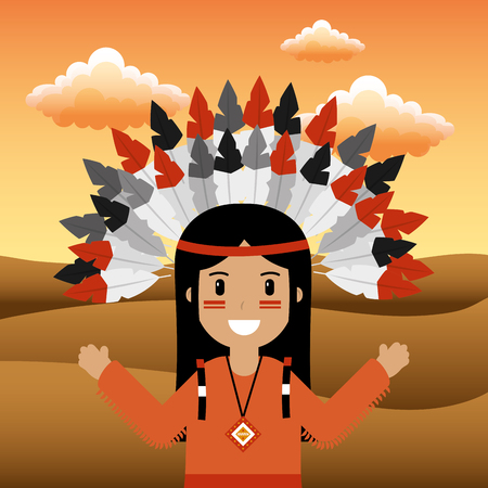 female native american with feathered headdress vector illustration