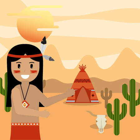 native american man pointing teepee house in the desert cactus skull vector illustration  イラスト・ベクター素材