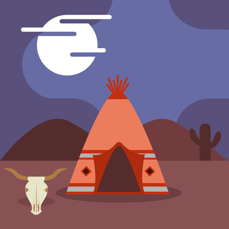 camp native american teepee skull cactus at night vector illustration Illustration