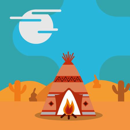 ネイティブアメリカンテントティーピーと焚き火サボテンベクトルイラスト