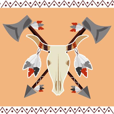 native american buffalo skull feathers ornament culture vector illustration