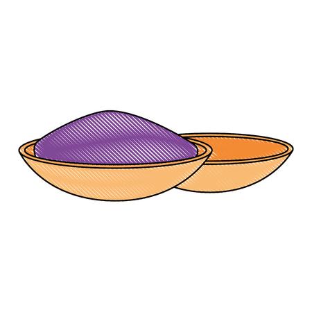 Ceramic container with color powder holy celebration vector illustration design. Illustration