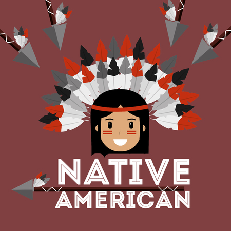 native american portrait traditional weapons vector illustration Stock Vector - 98407544