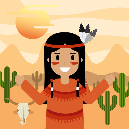 native american in desert with cactus skull and sun vector illustration