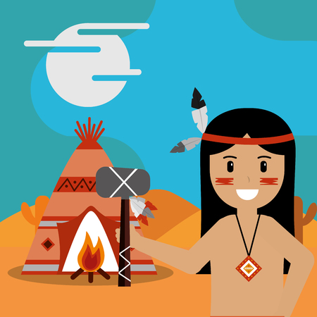 native american with tomahawk in hand teepee bonfire vector illustration Illustration