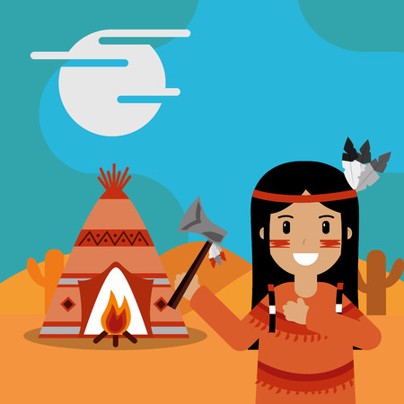 native american with axe in hand teepee bonfire cactus desert vector illustration