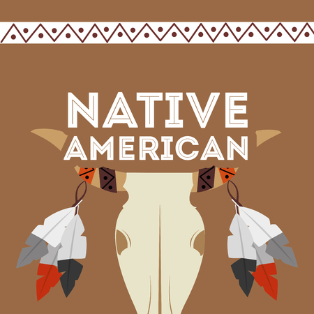 native american buffalo skull feathers ornament culture vector illustration