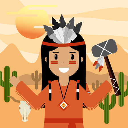 native american holding tomahawk with cactus skull mointains vector illustration