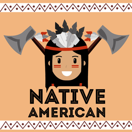 native american portrait traditional axe weapons vector illustration