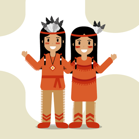 couple native american in traditional costume and headdress feathers culture vector illustration Stock Illustratie