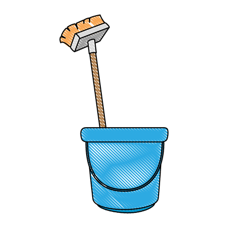 Bucket and brush clean utensil vector illustration design, Illustration