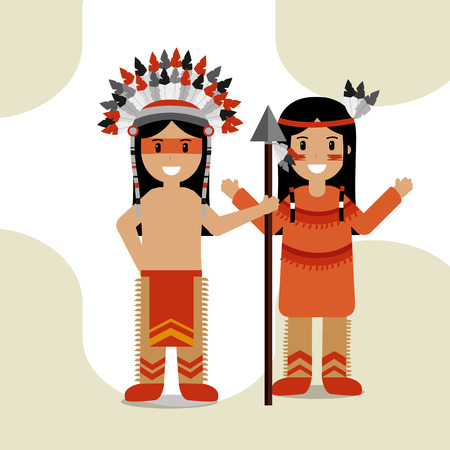 couple native american with spear in traditional clothes culture vector illustration