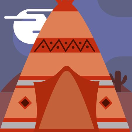 伝統的な家ティーピー部族の装飾ネイティブアメリカンベクターイラスト  イラスト・ベクター素材