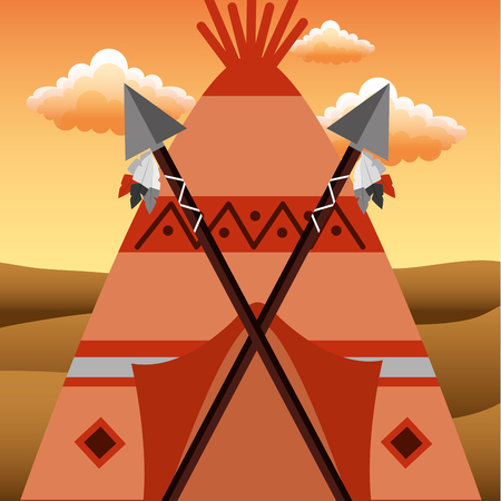 Native American teepee with spears crossed in door vector illustration.