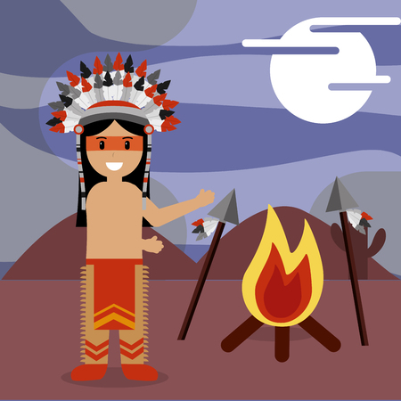 native american with bonfire flame and spears in sand desert night vector illustration Illustration
