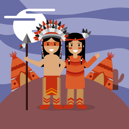 couple native american in traditional costume teepee house vector illustration