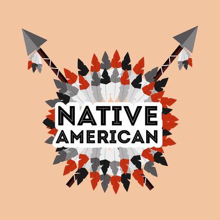 Native American spears crossed and feathers ornament vector illustration.