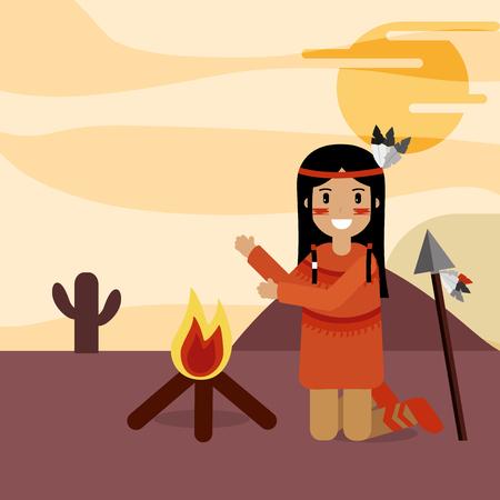 native american kneeling in the desert near the bonfire vector illustration