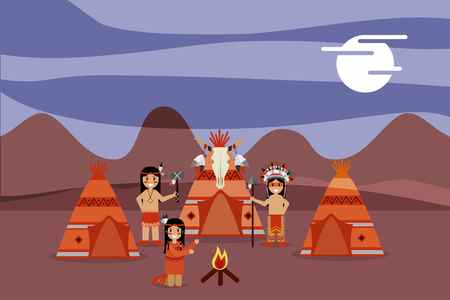 native american people with teepee skull bonfire at night vector illustration Illustration