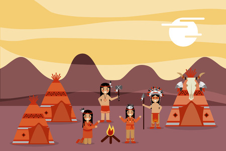 native american people in housing campsite mountains vector illustration Foto de archivo - 98409856