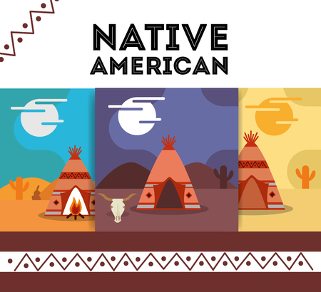 native american banner teepee traditonal vector illustration Illustration