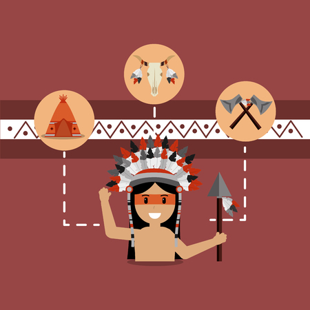 native american people and teepee skull and axes vector illustration Illustration