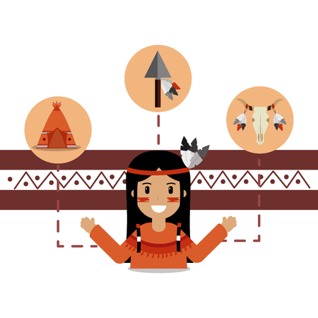 Native American people and teepee skull and spear vector illustration. Illustration