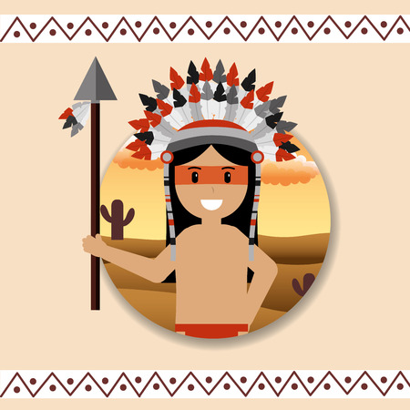 Native American portrait traditional weapons vector illustration.