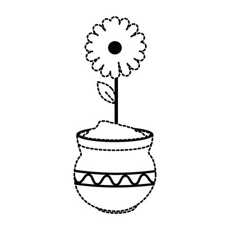 Beautiful sunflower in ceramic pot vector illustration design.