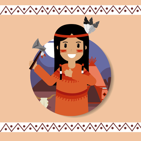 native american portrait traditional weapons vector illustration