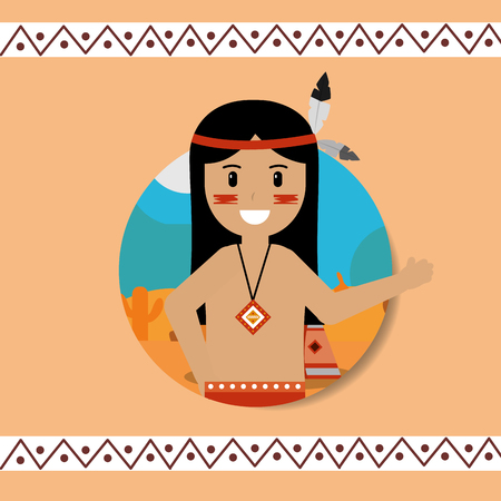 native american portrait traditional weapons vector illustration Stock Vector - 98410021