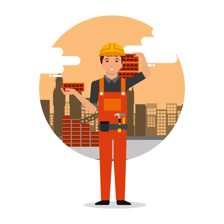 builder worker holding bricks on construction background with buildings vector illustration