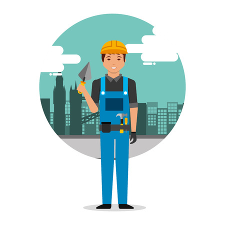 builder worker with spatula on construction background with buildings vector illustration
