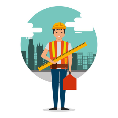 builder worker with ruler and toolkit on construction background with buildings vector illustration