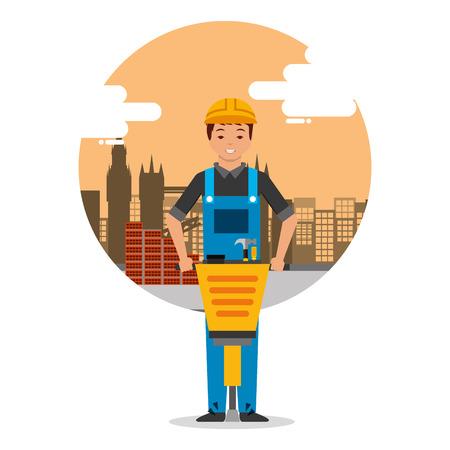 travailleur builder avec marteau-piqueur sur fond de construction avec des bâtiments illustration vectorielle