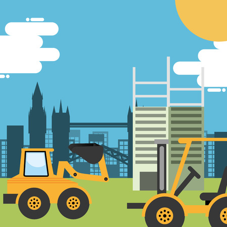 construction bulldozer forklift and structure buildings vector illustration